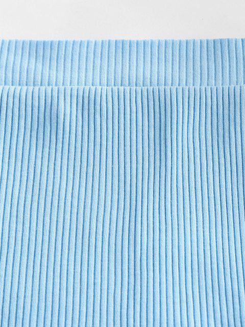 ZAFUL Tee de Malha do Ombro da Costela - Dia Céu Azul S Mobile