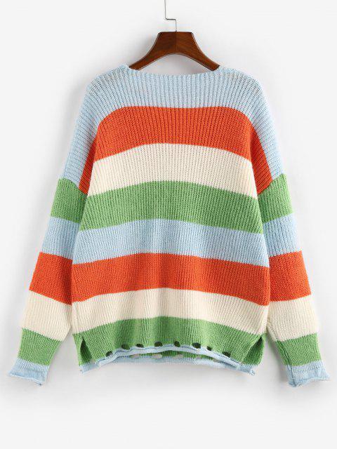 online Striped Rolled Trim Drop Shoulder Slit Sweater - MULTI L Mobile