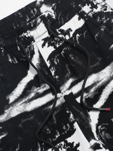 Pantalones Elásticos de Estampado de Tinta con Cordón - Negro XS Mobile