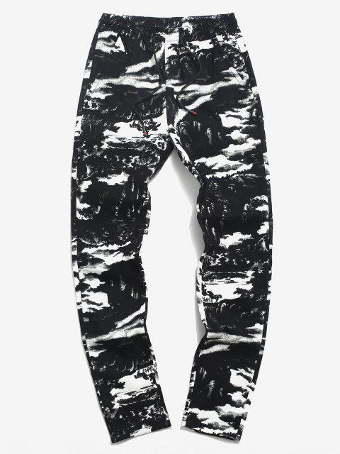 Pantalones Elásticos de Estampado de Tinta con Cordón - Negro M Mobile