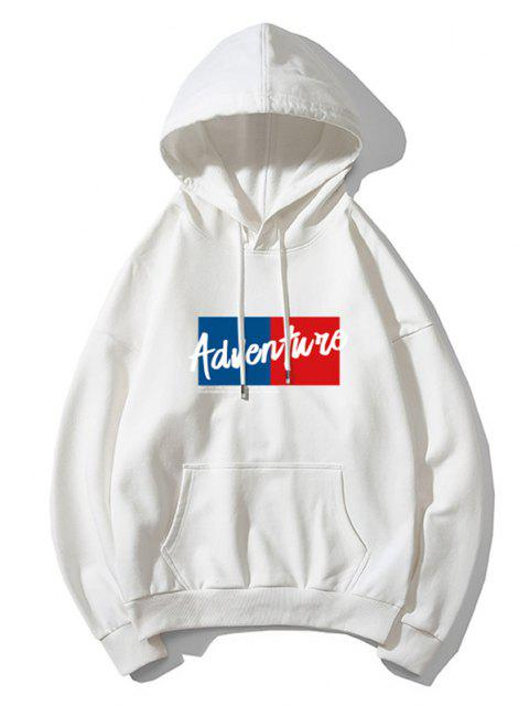 fancy Adventure Colorblock Graphic Front Pocket Drawstring Hoodie - WHITE L Mobile