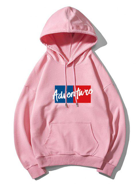 trendy Adventure Colorblock Graphic Front Pocket Drawstring Hoodie - PINK L Mobile
