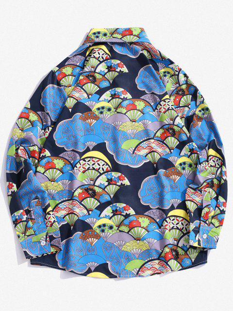Camisa Manga Larga Estampado Abanico Botón - Azul de Seda S Mobile