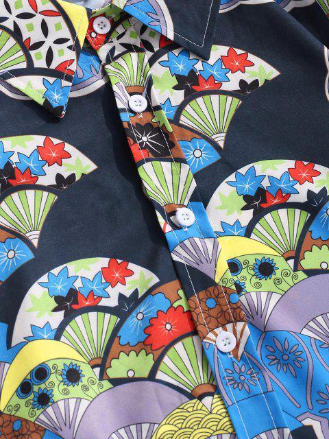 Camisa Manga Larga Estampado Abanico Botón - Azul de Seda 2XL Mobile