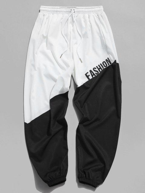 new Letter Print Color Blocking Beam Feet Pants - MILK WHITE M Mobile
