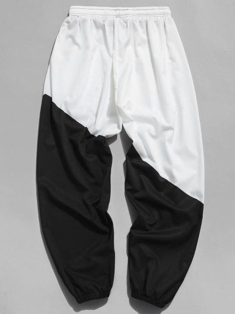 shops Letter Print Color Blocking Beam Feet Pants - MILK WHITE 4XL Mobile