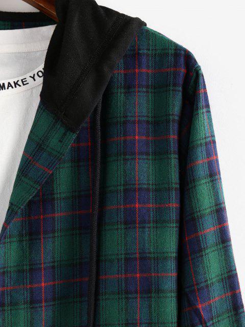 ZAFULコントラストチェック柄の印刷フード付きシャツ - マルチ S Mobile