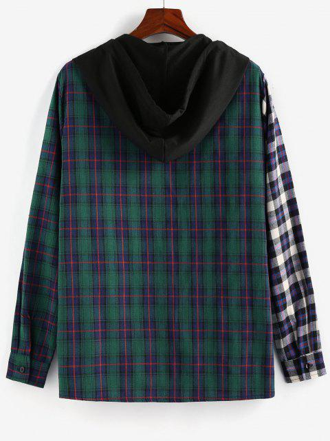 fashion ZAFUL Contrast Plaid Print Hooded Shirt - MULTI S Mobile