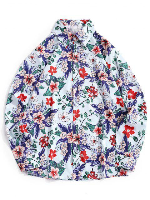 latest Floral Leaves Print Hawaiian Shirt - BLUE GRAY S Mobile