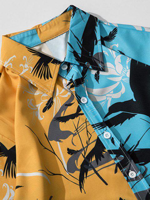 シノワズリ柄のツートンロングスリーブシャツ - ドジャーブルー 2XL Mobile