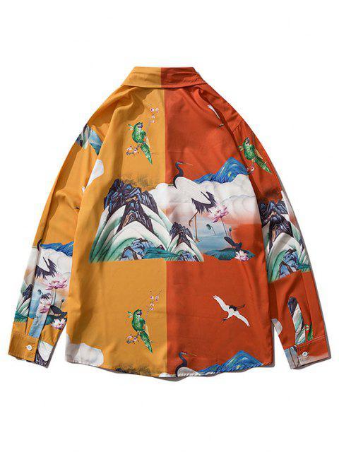 Camicia Bicolore con Maniche Lunghe - Oro d'arancio S Mobile