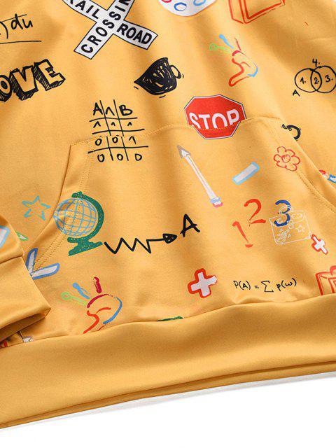 women Graffiti Graphic Pattern Kangaroo Pocket Hoodie - YELLOW XL Mobile
