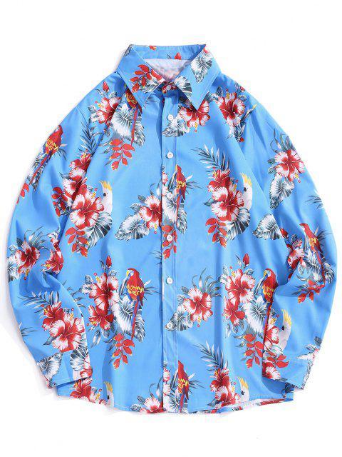 Floral Leaves Print Hawaiian Shirt - محيط أزرق L Mobile