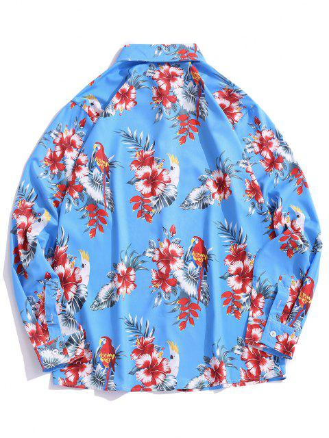affordable Floral Leaves Print Hawaiian Shirt - OCEAN BLUE L Mobile