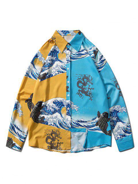 women Japanese Wave Animal Print Lounge Button Up Shirt - BLUE IVY M Mobile