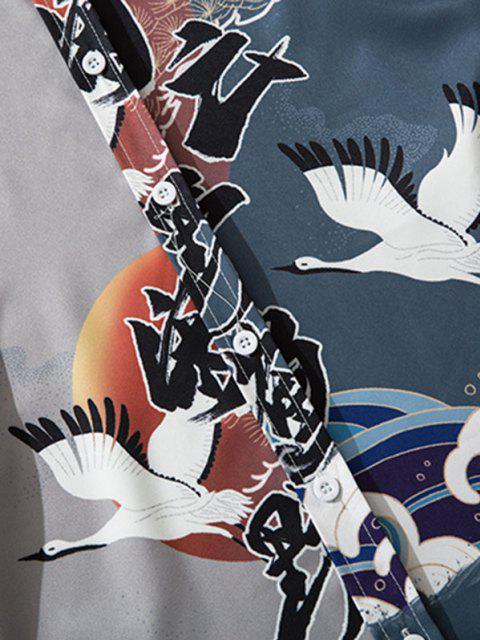 Japanischer Tierdruck Lounge Button Up Hemd - Aschgrau M Mobile