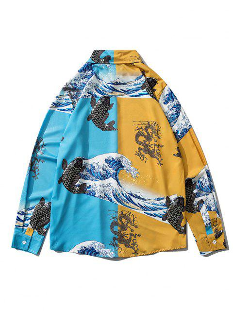 outfit Japanese Wave Animal Print Lounge Button Up Shirt - BLUE IVY 2XL Mobile