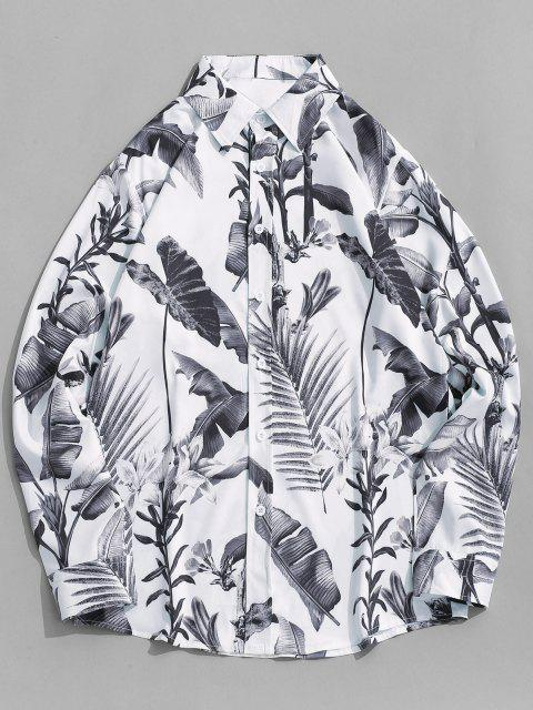 trendy Allover Printed Button Up Long Sleeve Shirt - GRAY CLOUD M Mobile