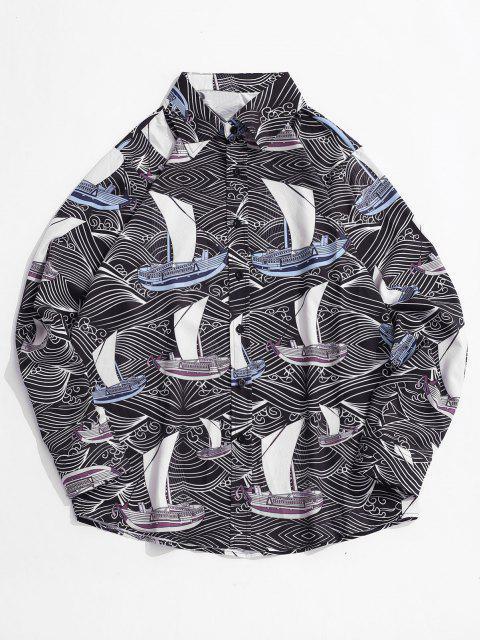 総模様プリントボタン付き長袖シャツ - ブラック XL Mobile