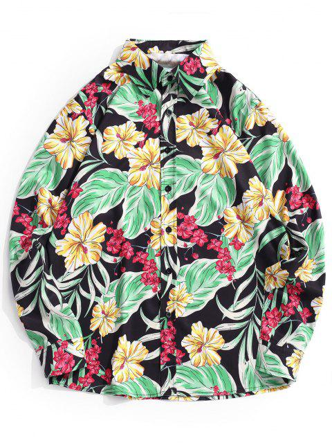 affordable Tropical Leaves Print Floral Vacation Shirt - RUBBER DUCKY YELLOW L Mobile