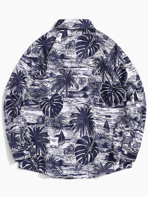 latest Button Down Funny Printed Leaves Shirt - CLOUDY GRAY L Mobile
