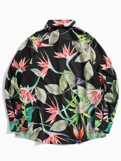 Camisa de Vacaciones de Dama de Flores con Hojas Tropicales - Verde de Pino  XL Mobile