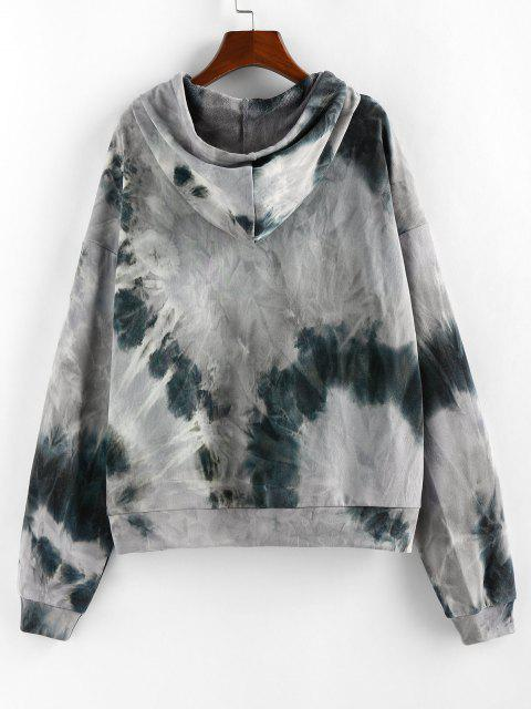 ZAFUL Tie Dye Sun Print Pullover Hoodie - رمادي فاتح S Mobile