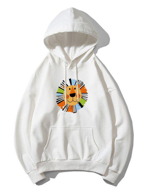 chic Cartoon Lion Print Casual Drop Shoulder Hoodie - WHITE M Mobile
