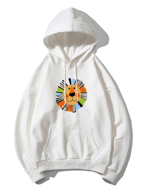 Cartoon Löwedruck Lässiges Fallschulter Hoodie - Weiß 3XL Mobile