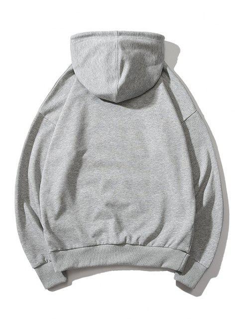 fashion Cartoon Lion Print Casual Drop Shoulder Hoodie - GRAY L Mobile