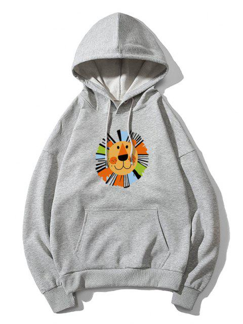 chic Cartoon Lion Print Casual Drop Shoulder Hoodie - GRAY 3XL Mobile