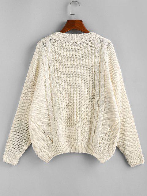 Weiter Pullover mit Hängender Schulter und Zopfmuster - Weiß M Mobile