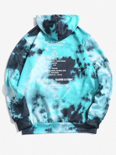 online Drawstring Tie Dye Letter Print Hoodie - SILK BLUE 2XL Mobile
