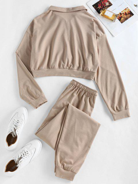 outfits ZAFUL Half Zip Crop Sweatshirt and Pants Sport Suit - CAMEL BROWN M Mobile