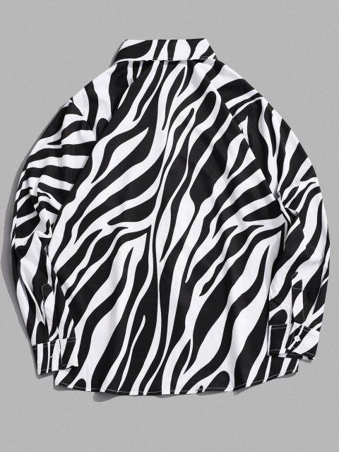 shops Lounge Zebra Print Long Sleeve Shirt - BLACK L Mobile