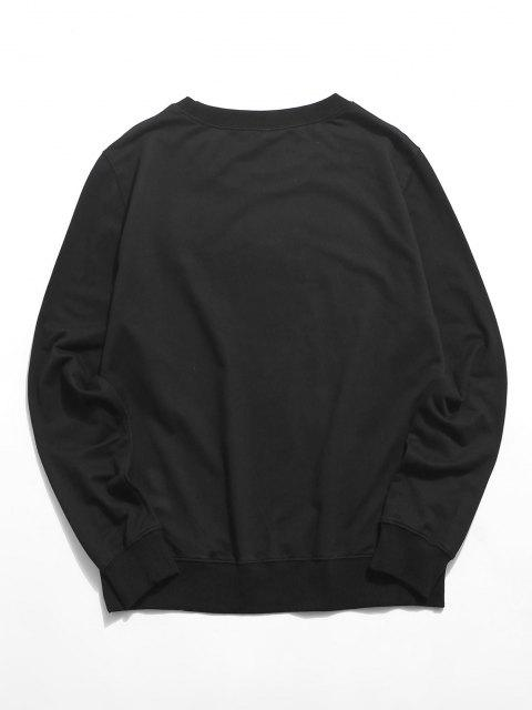 shop Lounge Dog Graphic Crew Neck Sweatshirt - BLACK XS Mobile