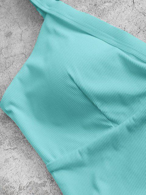 ZAFUL Haut de Bikini Court Superposé Côtelé - Bleu clair M Mobile