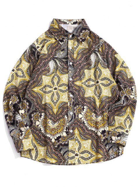 fancy Long Sleeve Allover Print Casual Shirt - COOKIE BROWN 2XL Mobile