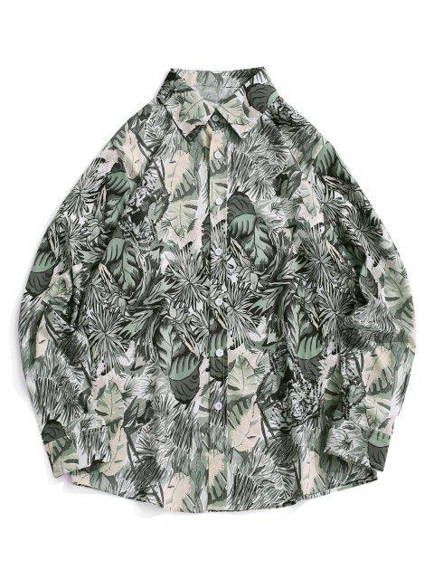 植物タイガープリントバケーションシャツ - スモーキーグレイ M Mobile