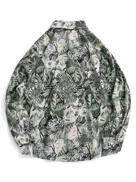 best Plant Tiger Print Vacation Shirt - SMOKEY GRAY S Mobile