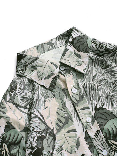 chic Plant Tiger Print Vacation Shirt - SMOKEY GRAY XL Mobile