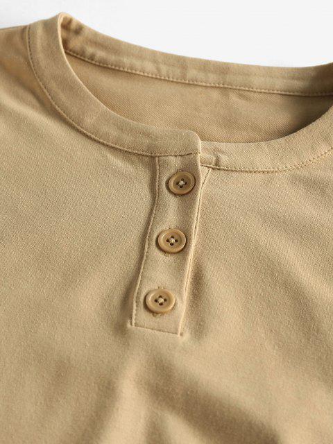 latest ZAFUL Drop Shoulder Rolled Henley Shorts Set - LIGHT KHAKI M Mobile