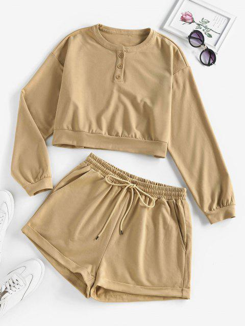 ZAFUL Drop Shoulder Rolled Henley Shorts Set - ضوء الكاكي M Mobile