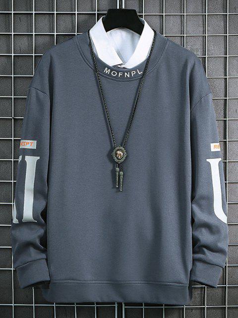 Rundhalsausschnitt Buchstabe Muster Sweatshirt - Nebel Blau S Mobile