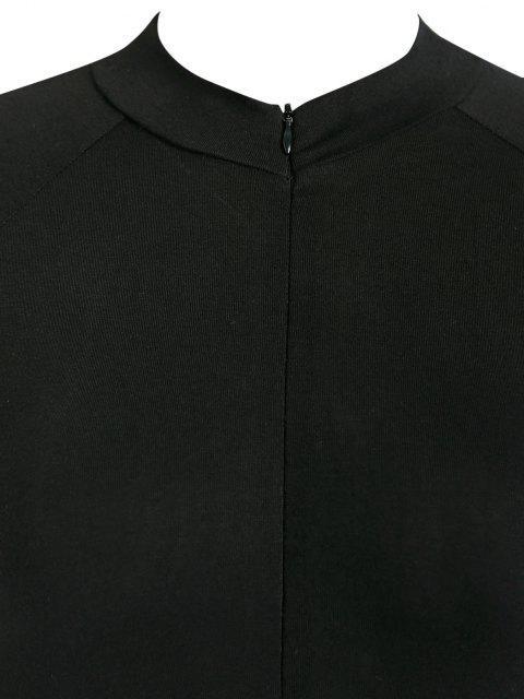 chic ZAFUL Mock Neck Half Zip Bodysuit - BLACK S Mobile