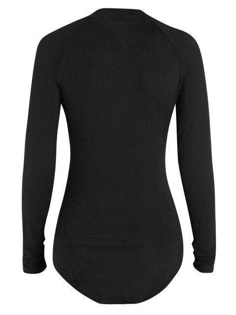 outfits ZAFUL Mock Neck Half Zip Bodysuit - BLACK M Mobile