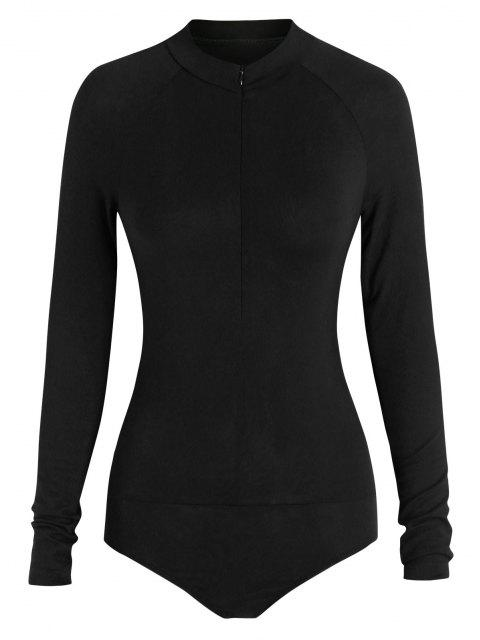shops ZAFUL Mock Neck Half Zip Bodysuit - BLACK L Mobile