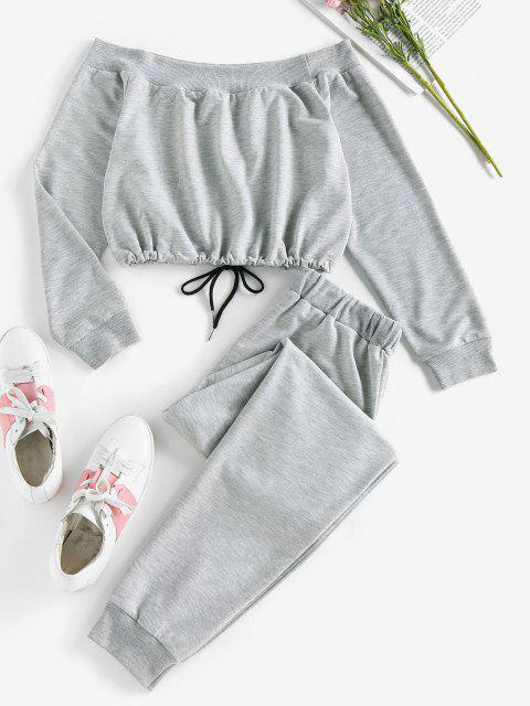 buy ZAFUL Off Shoulder Sweatshirt and Sweatpants Two Piece Set - DARK GRAY M Mobile