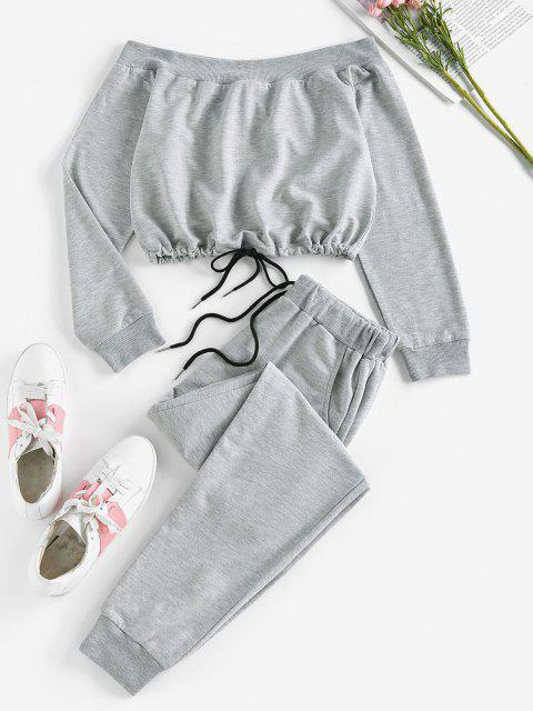 ladies ZAFUL Off Shoulder Sweatshirt and Sweatpants Two Piece Set - DARK GRAY L Mobile