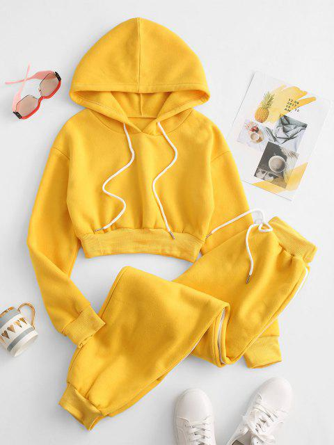 hot Drawstring Fleece Lined Pocket Two Piece Pants Set - YELLOW S Mobile